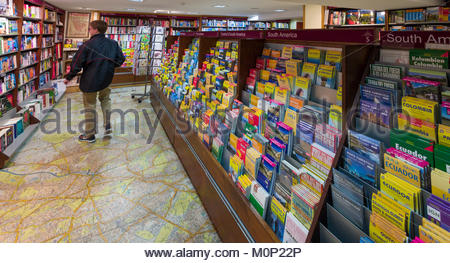 large scale map used as flooring in the map and travel guide section of Stanfords, the world's largest map and travel - Stock Photo