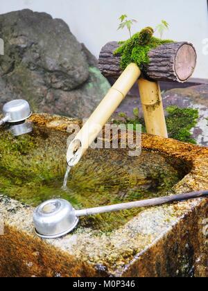Japan,Kyoto,Kurama,Temple of Kurama Dera,Monastery Daitoku-Ji,purification fountain - Stock Photo