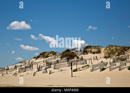 NC01409-00...NORTH CAROLINA - Sand fences attempt to stabilize a sand dune along the Atlantic Coast at the edge - Stock Photo