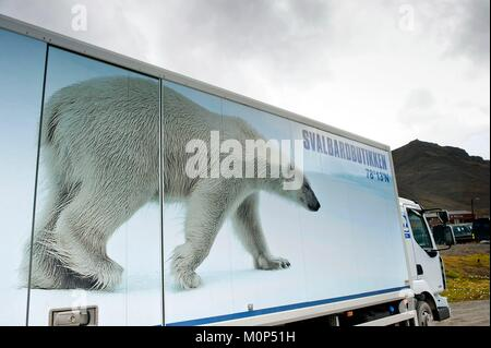 Norway,Svalbard,Spitsbergen island,Longyearbyen,picture of a polar bear printed on a delivery truck - Stock Photo