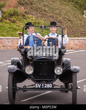 Laurel and Hardy look-a-likes perform a comedy routine in Oxfordshire - Stock Photo