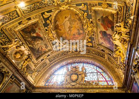 France,Paris,Heritage Days 2017,Institut Catholique,the ceiling was designed and painted by Abraham Van Diepenbeeck - Stock Photo
