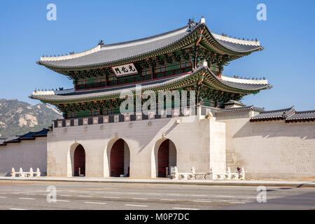 South Korea,Seoul,Jongno-gu district,Gyeongbokgung Palace or Gyeongbok Palace,Gwanghwamun gate - Stock Photo