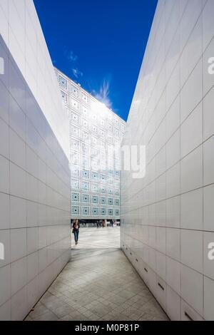 France,Paris,Institut du Monde Arabe (IMA),designed by the architects Jean Nouvel and Architecture-Studio - Stock Photo