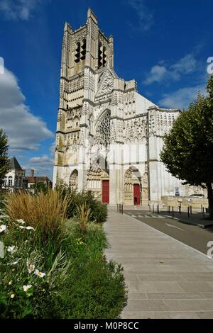 France,Yonne,Auxerre,Place Saint Pierre,Saint Pierre cathedral,west facade - Stock Photo