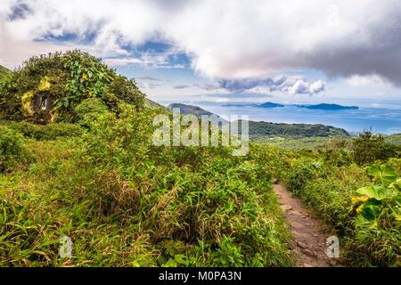 France,Caribbean,Lesser Antilles,Guadeloupe,Basse-Terre,Saint-Claude,View on the Saintes,the island of Dominica - Stock Photo