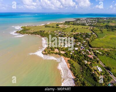 France,Caribbean,Lesser Antilles,Guadeloupe,Basse-Terre,Sainte-Rose,aerial view of Cluny beach and Grand Cul-de - Stock Photo