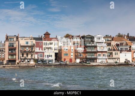 United States,New York,Finger Lakes Region,Skaneateles,village view - Stock Photo
