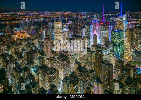 United States,New York,New York City,Mid-Town Manhattan,elevated view of Mid-Town Manhattan,dusk - Stock Photo