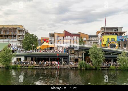 Germany,Berlin,Moabit district,cafe and restaurant on the Spree river - Stock Photo