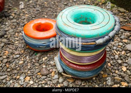 Philippines,Luzon,Albay Province,Tiwi,fishing lines Stock Photo