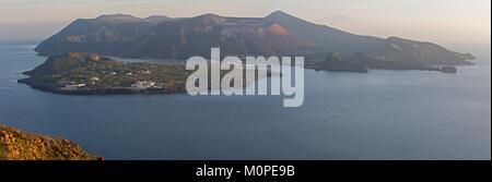 Italy,Sicily,Aeolian Islands,Lipari island,view of the volcano Vulcano - Stock Photo