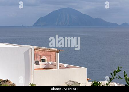 Italy,Sicily,Aeolian Islands,Alicudi Island,view on the island Filicudi and the cane - Stock Photo