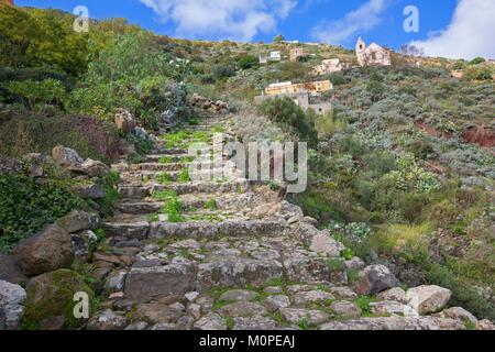 Italy,Sicily,Aeolian Islands,Alicudi Island,Town - Stock Photo