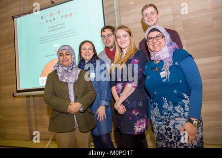 CARDIFF, UNITED KINGDOM.  19 January 2018.  Organisers of the Beyond the Thearapy Room pose for a group portrait. - Stock Photo