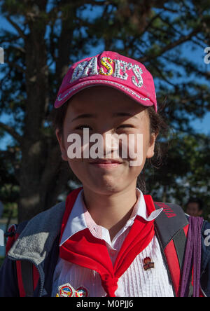 North Korean pioneer girl in Songdowon international children's camp, Kangwon Province, Wonsan, North Korea - Stock Photo