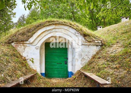 Petrov, Czech republic. 20th August, 2017. The complex of traditional wine cellars, called plže, in south moravian - Stock Photo