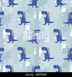 Dino blue color boy seamless vector pattern camo. Kids animal apparel and wallpaper print. - Stock Photo