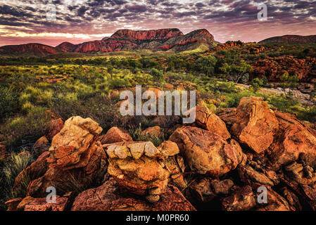 Sunset at Ormiston Pound, West Macdonnell Ranges, Northern Territory - Stock Photo