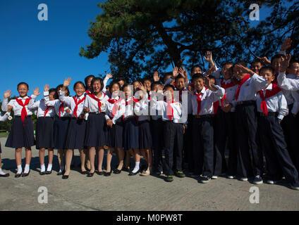 North Korean pioneers in Songdowon international children's camp, Kangwon Province, Wonsan, North Korea - Stock Photo