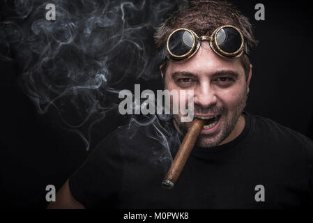 Steampunk smoker with a cuban cigar - Stock Photo