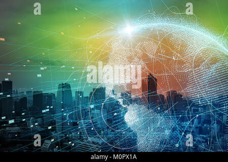 Smart city and global network concept. - Stock Photo