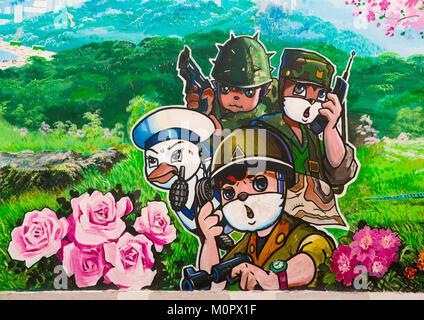 Cartoon fresco at Songdowon international children's camp, Kangwon Province, Wonsan, North Korea - Stock Photo