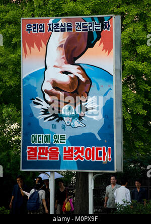 North Korean anti american propaganda billboard in the street, Pyongan Province, Pyongyang, North Korea - Stock Photo