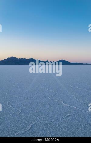 Tracks of a car on the Great Salt Lake Salt Flats of Utah Near the Bonneville Raceway - Stock Photo