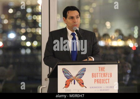 UN, New York, USA. 23rd Jan, 2018. Israel's Ambassador Danny Danon spoke at 'The Butterfly Project' Holocaust remembrance - Stock Photo