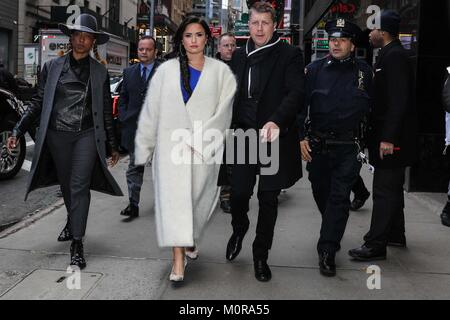 New York, United States. 24th Jan, 2018. American singer Demi Lovato is seen in Manhattan in New York City on Wednesday, - Stock Photo