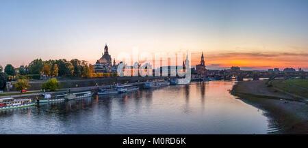 Germany, Saxony, Dresden, Skyline in the evening - Stock Photo