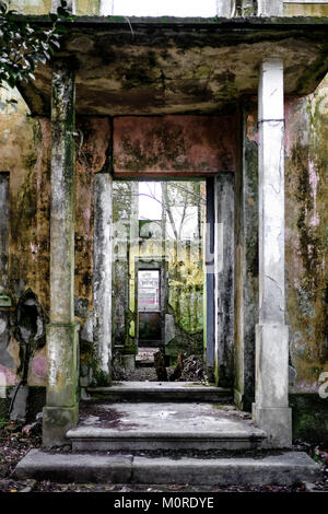 abandoned house in ruins, view from the the front door - Stock Photo