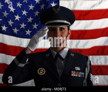 U.S. Air National Guardsman Staff Sgt. Tasha Gresco, an Honor Guard member with the 171st Air Refueling Wing, poses - Stock Photo