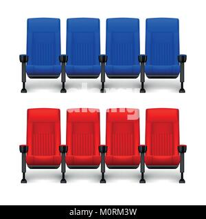 Set of realistic comfortable movie chairs for cinema theater. Cinema empty red and blue seats. Vector illustration - Stock Photo