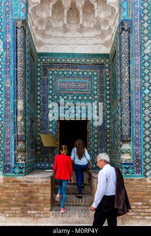 Tourists Visiting The Usto Ali Nesefi Mausoleum, The Shah-i-Zinda Mausoleum Complex, Samarkand, Uzbekistan - Stock Photo