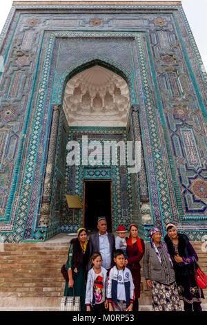 Uzbek Tourists Visiting The Usto Ali Nesefi Mausoleum, The Shah-i-Zinda Mausoleum Complex, Samarkand, Uzbekistan - Stock Photo