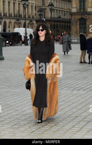 January 23rd, 2018 - Paris  Eleonora Carisi posing for photographers during the Paris Fashion Week 2018. - Stock Photo