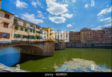 FLORENCE (FIRENZE), JULY 28, 2017 - View of Ponte Vecchio in Florence (Firenze), Tuscany, Italy. - Stock Photo