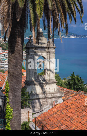 Bell of small Catholic Church of Leopold Mandic on Mica Pavlovica Square on the Old Town of Herceg Novi city in - Stock Photo