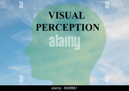 Render illustration of VISUAL PERCEPTION title on head silhouette, with cloudy sky as a background. - Stock Photo