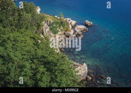Aerial view of Bay of Kotor with ruins of Venetian citadel in Herceg Novi city, Montenegro - Stock Photo