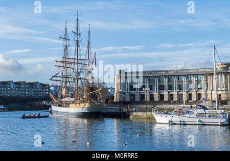 The Three Masted Barque Kaskelot moored in Bristol Harbour - Stock Photo