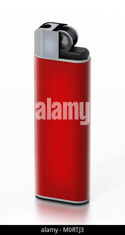 Generic red lighter isolated on white background. 3D illustration - Stock Photo