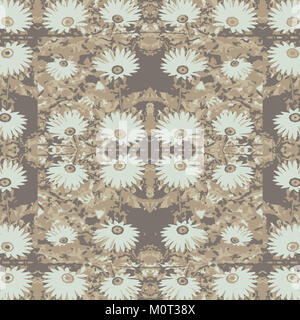 Digital photo collage and manipulation technique vintage style daisy floral motif seamless pattern design in pastel - Stock Photo