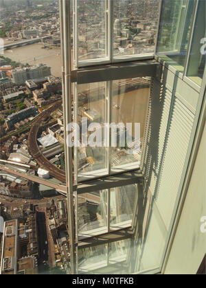 A view looking down from The Shard to the River Thames and the railway going across to Cannon Street Station, London - Stock Photo