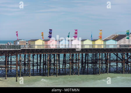 Beach huts on Hastings Pier, Hastings, East Sussex, England, United Kingdom - Stock Photo