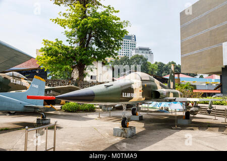 USAF Northrop F-5A Jet Fighter, a military exhibit on display at the War Remnants Museum of the Vietnam War, Saigon - Stock Photo