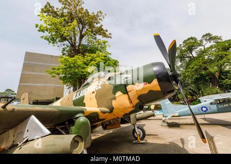 USAF Douglas A-1 Skyraider military fighter plane, an exhibit on display, War Remnants Museum of Vietnam War, Saigon - Stock Photo