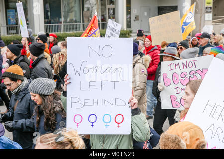 TORONTO, CANADA - PROTESTERS AT WOMEN'S MARCH ON TORONTO: DEFINING OUR FUTURE. - Stock Photo